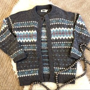Vintage Fair Isle Wool Knit Cardigan